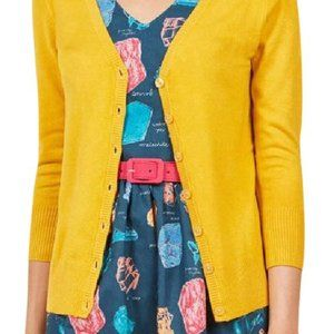 ModCloth charter school cardigan in mustard